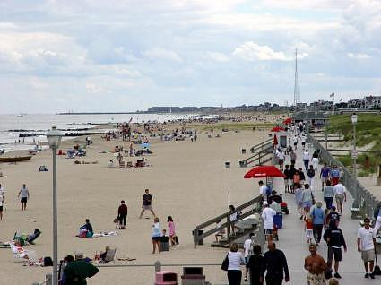 The beach in Spring Lake looking south toward Point Pleasant, NJ