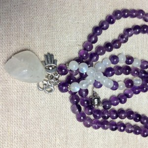 Amethyst/Moonstone/Moonstone Drop and Charms Necklace