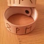 leather cuffs with norse script