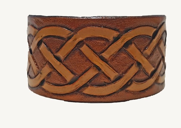 hand carved Celtic knot cuff made from full grain English leather