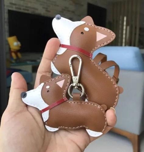 Leather Corgi keychain