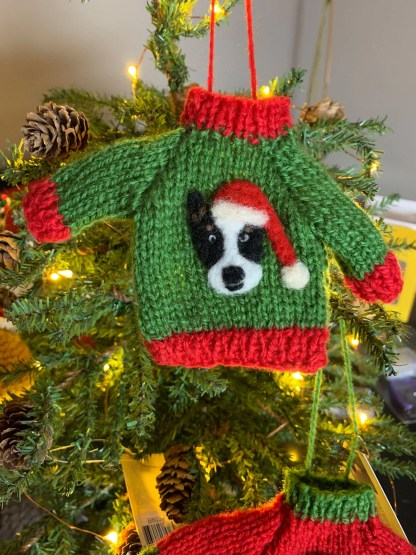 Corgi Sweater Ornament Tri Color