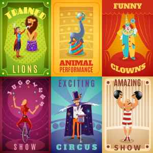 Traveling circus amazing show announcement: 6 flat banners composition with trained animals performance illustrations