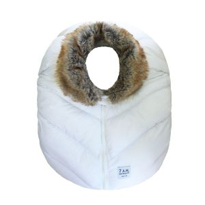 7 A.M. Enfant Car Seat Cocoon – White with Faux Fur Collar