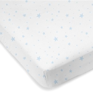 Mini Crib Sheet Blue Scribble Stars