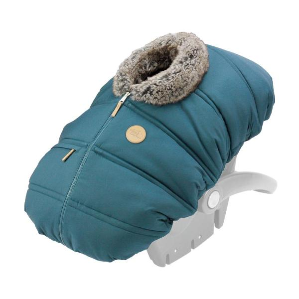 Winter Baby Car Seat Cover – Teal Wolf