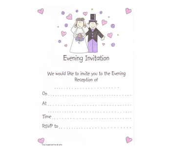 Bride And Groom Wedding Evening Invitations Pack 20