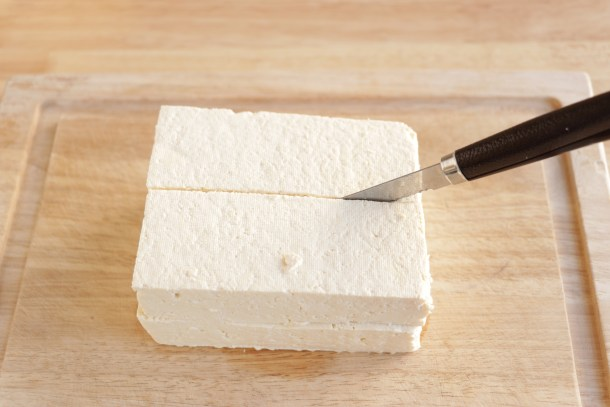 How to slice tofu for crispy oven baked tofu.