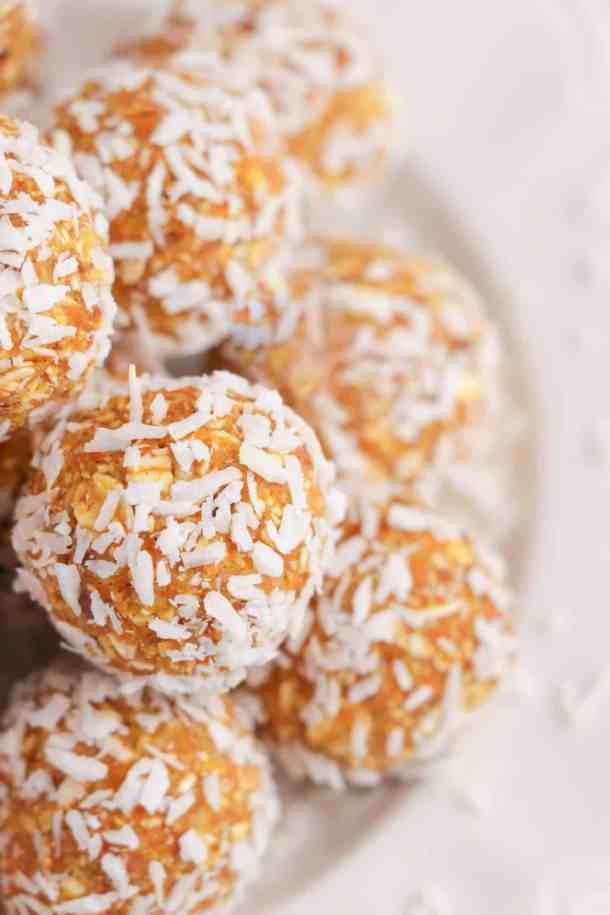 carrot cake energy balls coated in shredded coconut