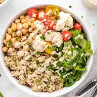chickpea vegetable rice bowl