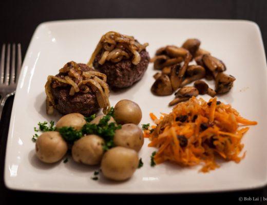 beef patty with crispy onions