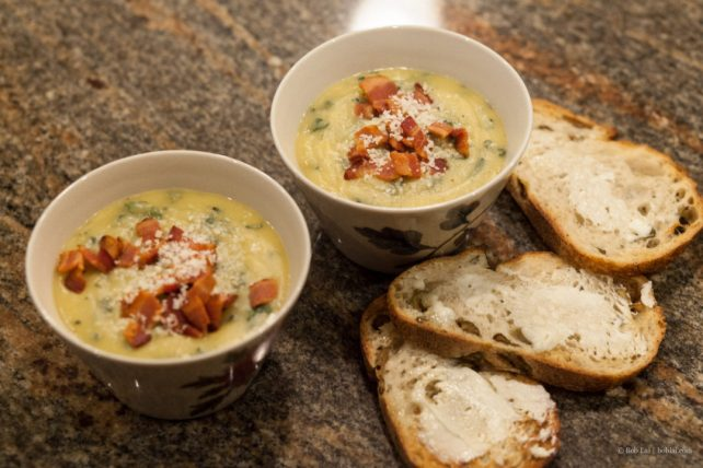 Acorn Squash Soup with Kale and Bacon