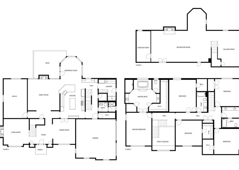 Real estate floor plan for a house for sale