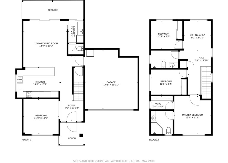 Real estate floor plan of a house for a listing for sale