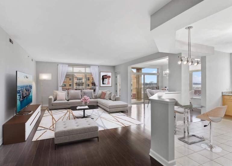 Virtual staging services for real estate photography - digital furniture in a living room, kitchen and a dining room