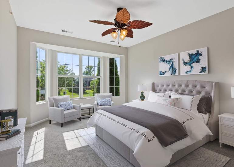 Virtual staging services for real estate photography - digital furniture in a bedroom