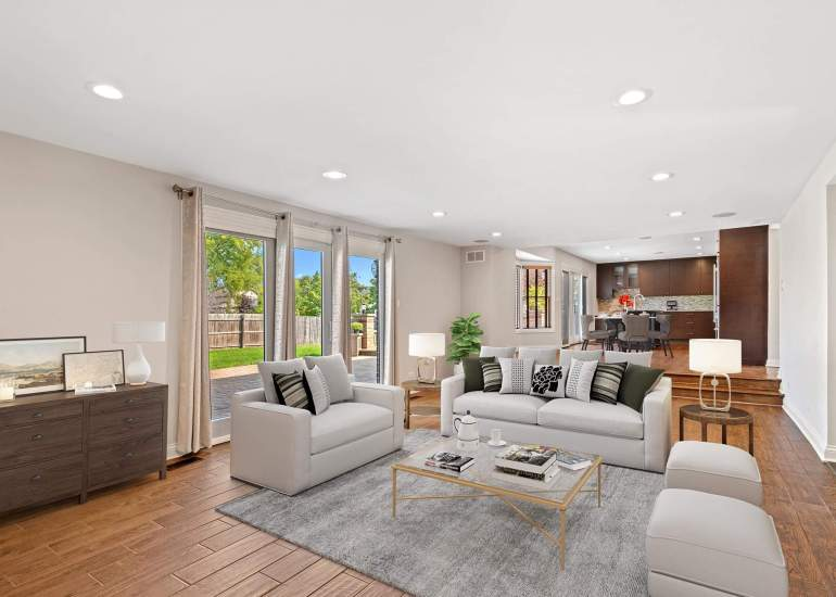 Virtual staging services for real estate photography - digital furniture in a family room and kitchen
