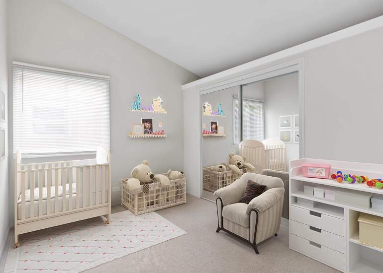 Virtual staging services for real estate photography - digital furniture in a kids room