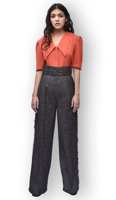 Edgy Collar Shirt & Flare Pants