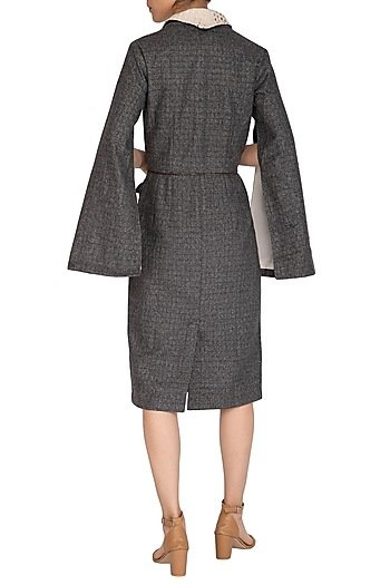 Slate Grey Woolen Pocket Collar Dress
