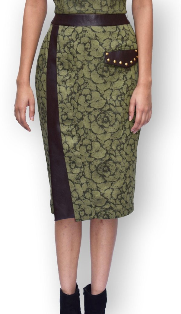 Olive Green Printed Flap Pencil Skirt