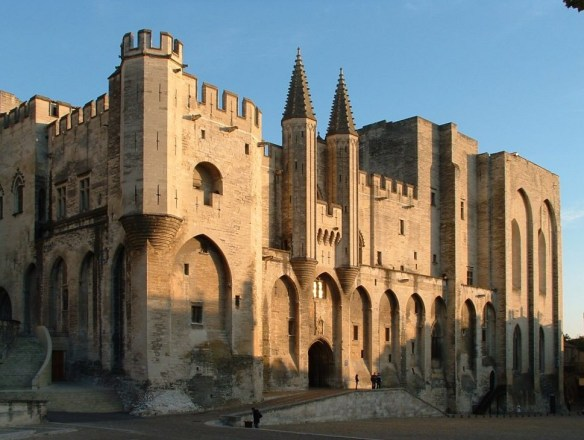 The Palais des Papes or Pope's Palace at sunset in Avignon., France
