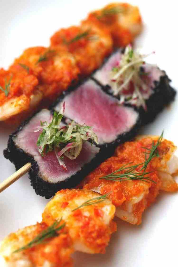 shrimp bumbu bali & ahi sesame tuna3