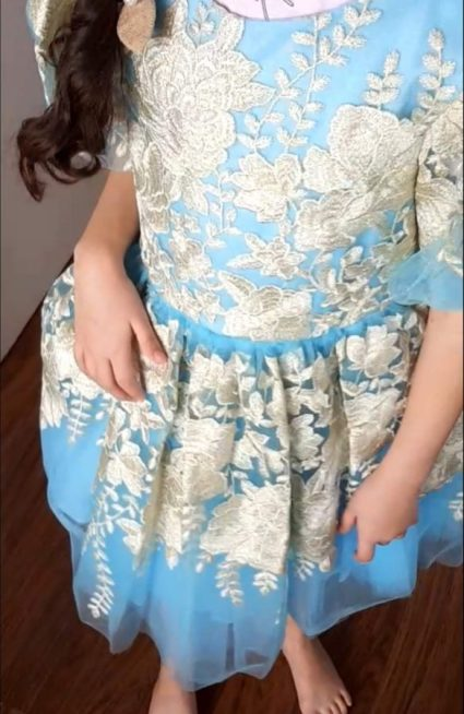 David Charles Childrenswear Ramadan/Eid 2019 Collection. Pastel Blue & Gold Floral Dress featuring balloon hem sleeves, golden artisan embroidery & luxe tulle layers. #luxe #couture #kidsfashion #princess #cinderallastyle #eidoutfit #ramadan2019 #lifestyle #specialoccasion #ballgown #flowergirl #bridesmaid #pretty #colourpop #summerready #girlsstatementgowns #glamgirl #celebrateinstyle #ramadanstyle #dresstoimpress #eidonfleek