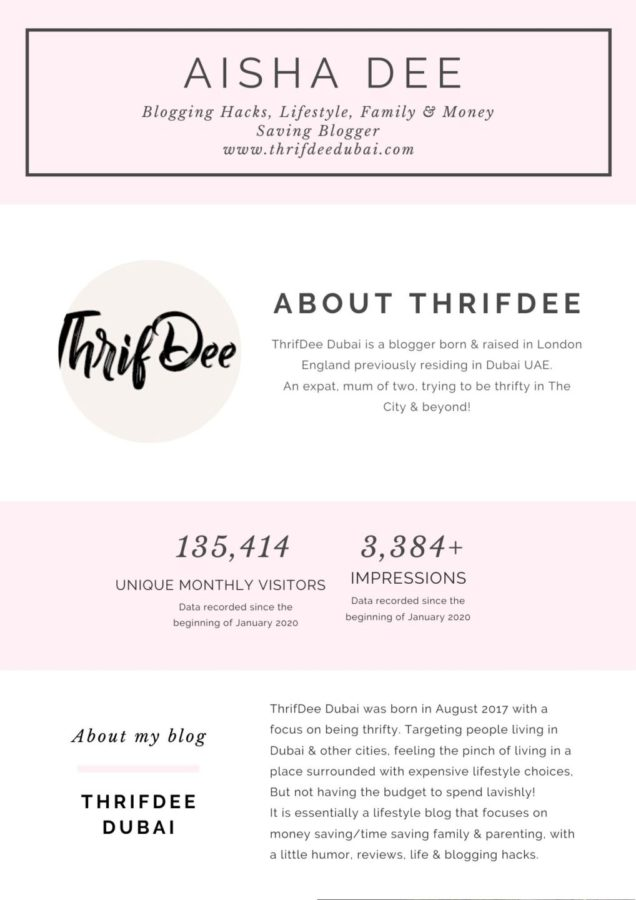 ThrifDeeDubai Blogger Media Kit Collaborate with me