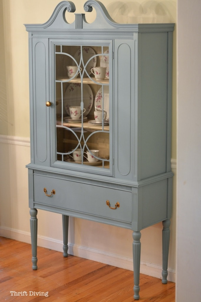BEFORE  AFTER My Thrifted China Cabinet Makeover  Thrift Diving Blog  Thrift Diving Blog