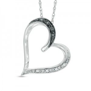 Enter to Win a Black and White Diamond Tilted Heart Pendant in Sterling Silver