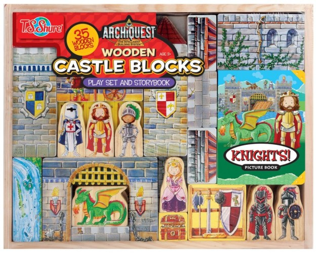 T.S. Shure Archiquest Wooden Castle Blocks Playset and Storybook Building Kit