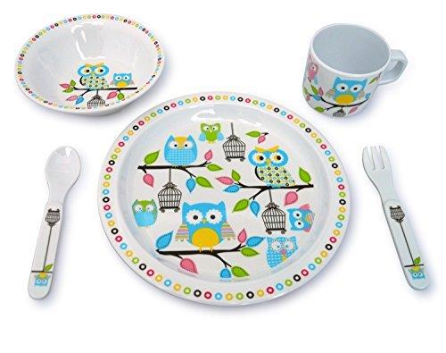Kids Owl Melamine 5 Pc Dinnerware Set