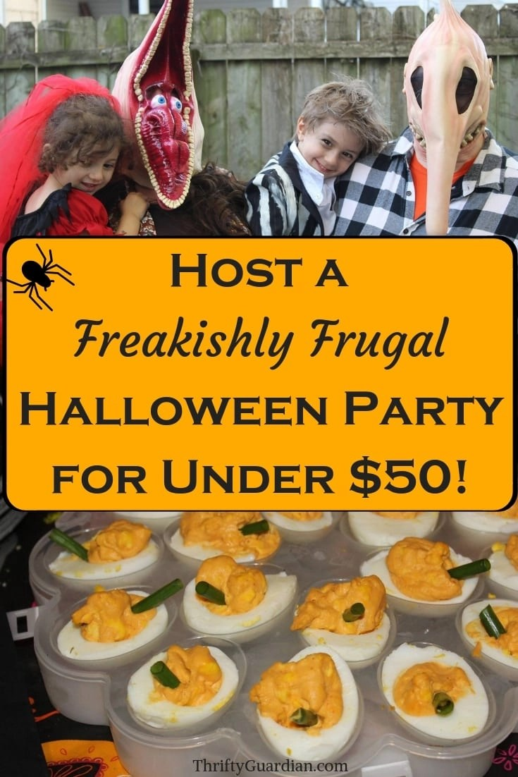 Host a Freakishly Frugal Halloween Party for Under $50! Party ideas on a budget and how to decorate for a Halloween party, including kid parties. Cheap party ideas, punny costumes, frugal Halloween party tips, and much more!