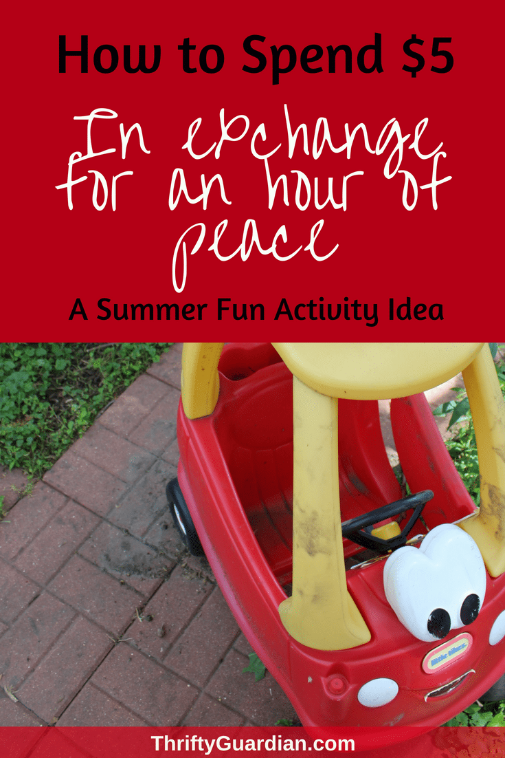 Looking for a summer fun activity idea for your kid or toddler? Pick up these five things for $5 from the dollar store and entertain your children for hours while you relax in the summer sun. Peace and quiet doesn't have to come with a hefty price tag. #summerfun #kidactivity #summeractivity #frugal #thriftyguardian #dollarstore #dollarstorecraft #activityfortoddlers #familyfun