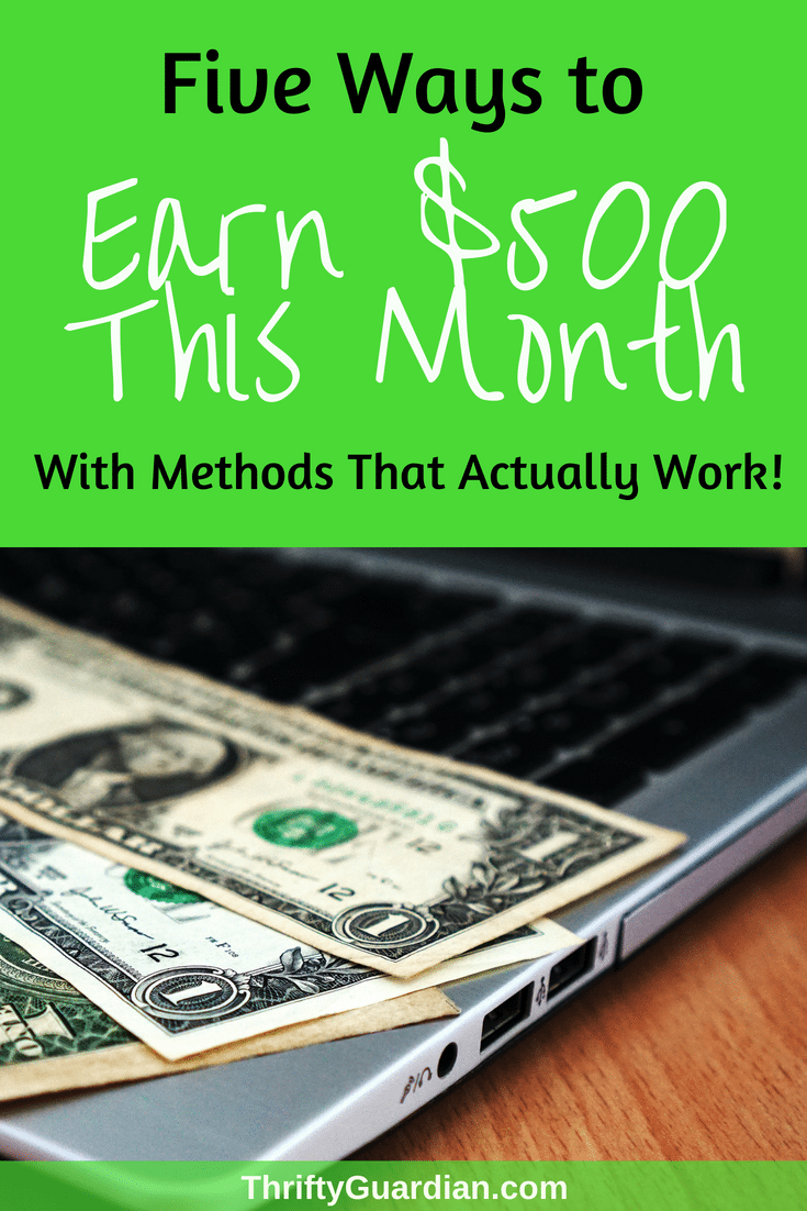 Money Making Ideas That Actually Work - Looking to make money online or work from home? Check out these five tried-and-true ways to earn cash this month and get one step closer to financial freedom and get out of debt! Work from home, work online, and make money with these personal finance tips. #getoutofdebt #makemoney #wahm #workfromhome #workonline #blogger #thriftyguardian #workonline #money #finance