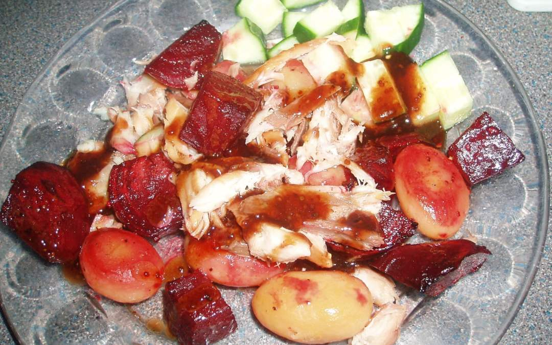 Smoked Mackerel and Roasted Beetroot Salad, 47p a serving