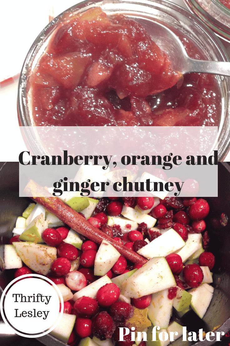 Cranberry, orange and ginger chutney