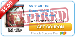 $5.00 off The Descendants on Blu-ray™ or dvd