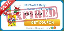 $0.75 off 3 Betty Crocker Fruit Snacks