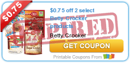 $0.75 off 2 select Betty Crocker products