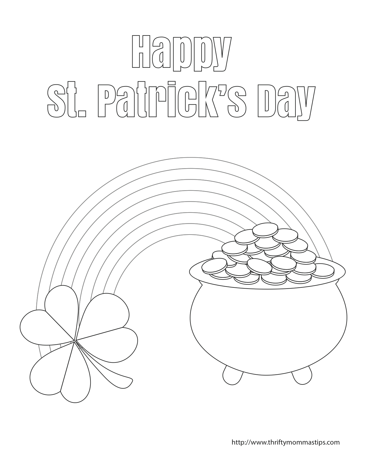 St Patrick S Day Pot Of Gold Coloring Page Thrifty Mommas Tips