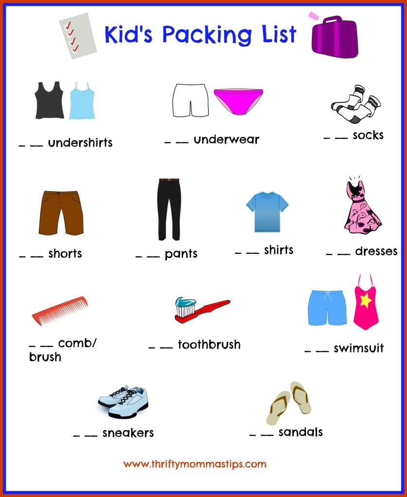 Kid's packing list