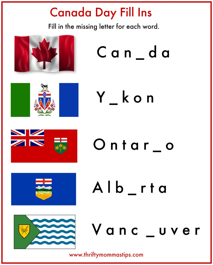 Canada Day Fill Ins