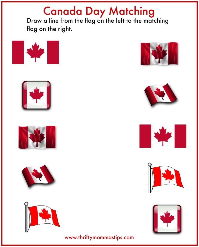Canada Day matching game