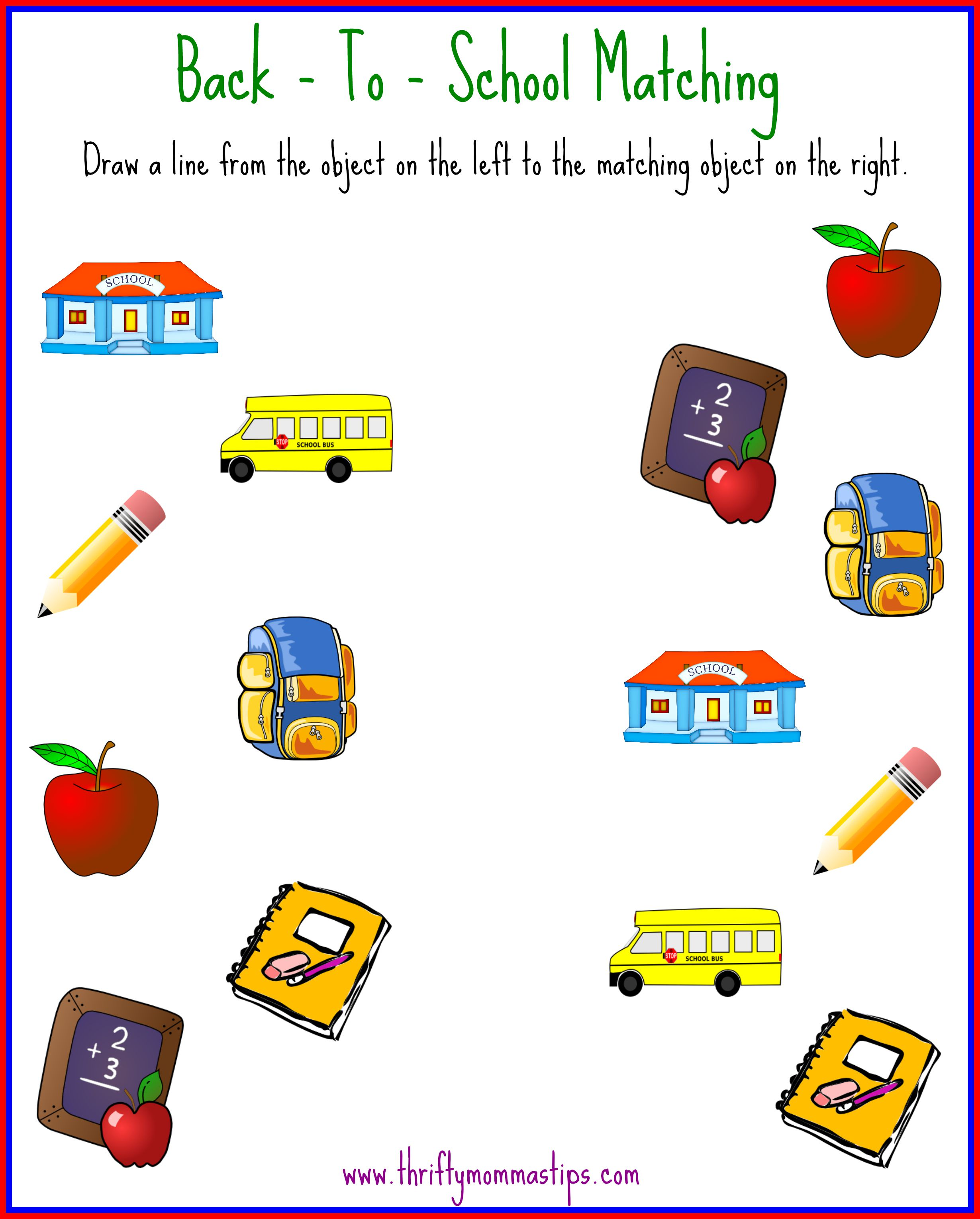 Back To School Matching Printable