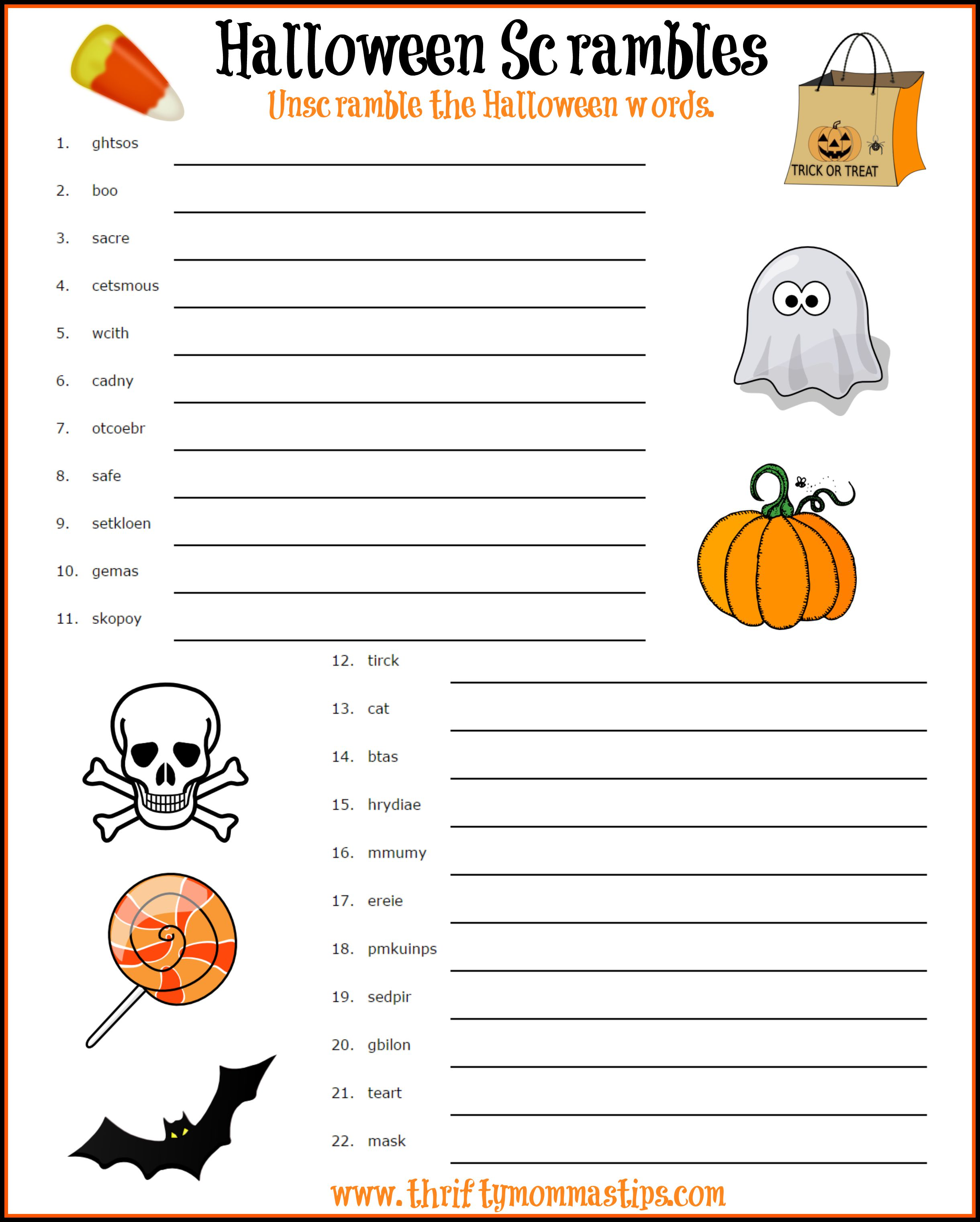 Fun Halloween Word Scramble