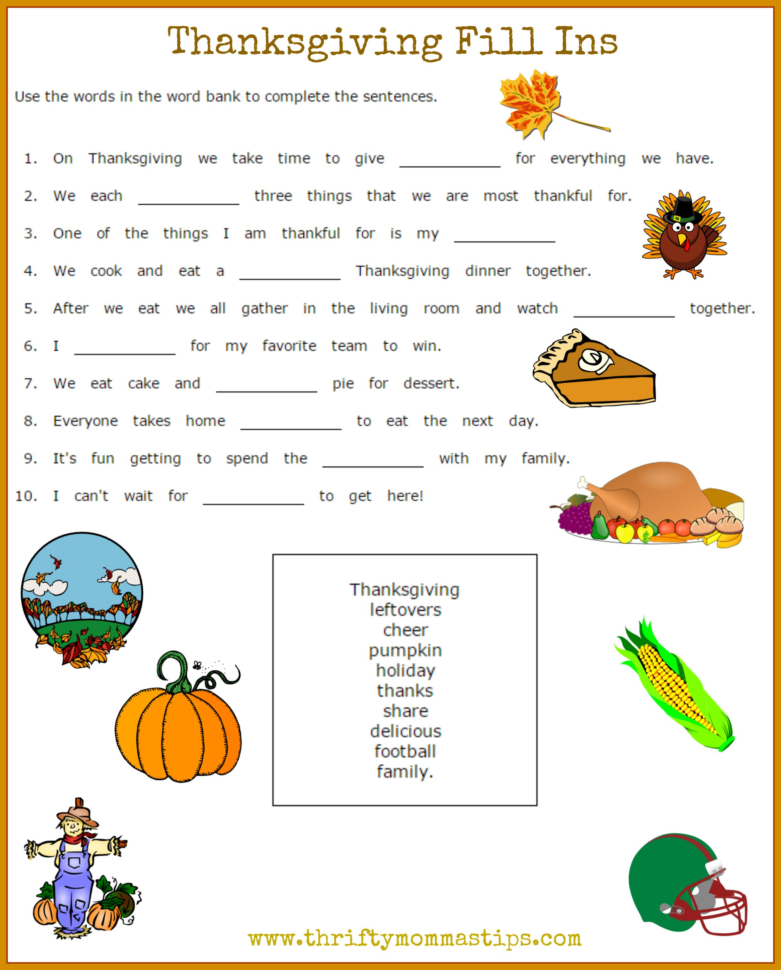 Thanksgiving Printables Fill In Vocabulary Sheet For Children