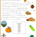 Free Thanksgiving Printable – Fill Ins Vocabulary Sheet for Children