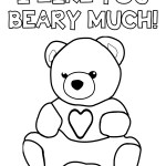 I Like You Beary Much – Teddy Bear Valentine's Day Coloring Page Printable